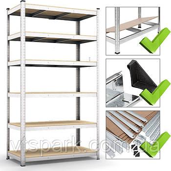 Стеллаж полочный 2400х1200х600мм, 150кг, 6 полок с ДСП/МДФ оцинкованный для магазина, склада, гаража