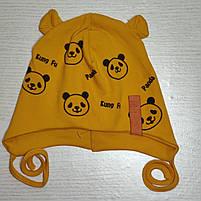 Шапка для мальчика трикотажная на завязках Панда с ушками Размер 44-46 см Возраст 6-12 месяцев, фото 5