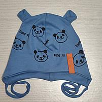 Шапка для мальчика трикотажная на завязках Панда с ушками Размер 44-46 см Возраст 6-12 месяцев, фото 4