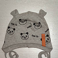 Шапка для мальчика трикотажная на завязках Панда с ушками Размер 44-46 см Возраст 6-12 месяцев, фото 3
