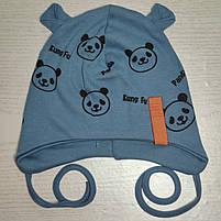 Шапка для мальчика трикотажная на завязках Панда с ушками Размер 44-46 см Возраст 6-12 месяцев, фото 2