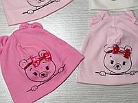 Шапка Без зав'язки для дівчаток з ведмедиком Розмір 36-38 см, Розмір 40-42 см, фото 9