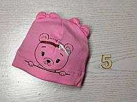 Шапка Без зав'язки для дівчаток з ведмедиком Розмір 36-38 см, Розмір 40-42 см, фото 8