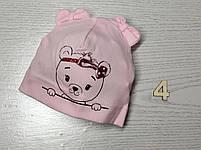 Шапка Без зав'язки для дівчаток з ведмедиком Розмір 36-38 см, Розмір 40-42 см, фото 7