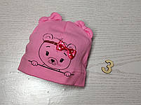 Шапка Без зав'язки для дівчаток з ведмедиком Розмір 36-38 см, Розмір 40-42 см, фото 6
