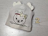 Шапка Без зав'язки для дівчаток з ведмедиком Розмір 36-38 см, Розмір 40-42 см, фото 5