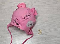 Шапка трикотажная для девочек киса ушки бантик на завязках Размер 38-40 см Возраст 0-3 месяцев, фото 6