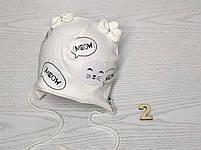 Шапка трикотажная для девочек киса ушки бантик на завязках Размер 38-40 см Возраст 0-3 месяцев, фото 5