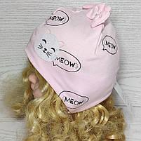 Шапка трикотажная для девочек киса ушки бантик на завязках Размер 38-40 см Возраст 0-3 месяцев, фото 3
