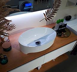 Умивальник литий мармур Evora 489*174*150 білий глянцевий ТМ Miraggio