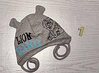 Шапка для мальчика трикотажная со львом на завязках Размер 38-40 см, Размер 42-44 см, фото 4