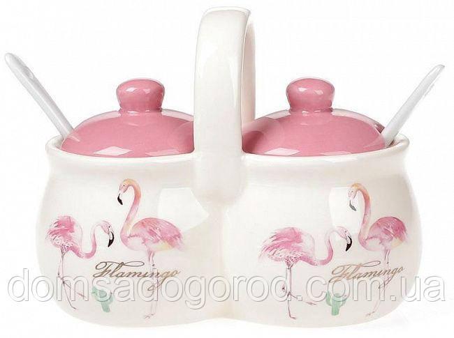 Набор для специй Розовый Фламинго 220 мл с ложечками и ручкой BD-DM122-FL