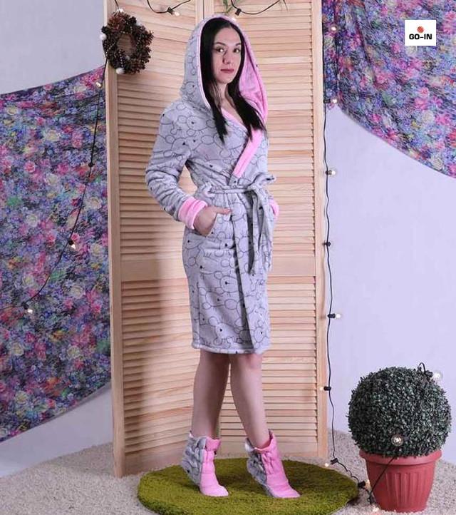 Халат махровий жіночий c чобітками з капюшоном короткий р. 50-52