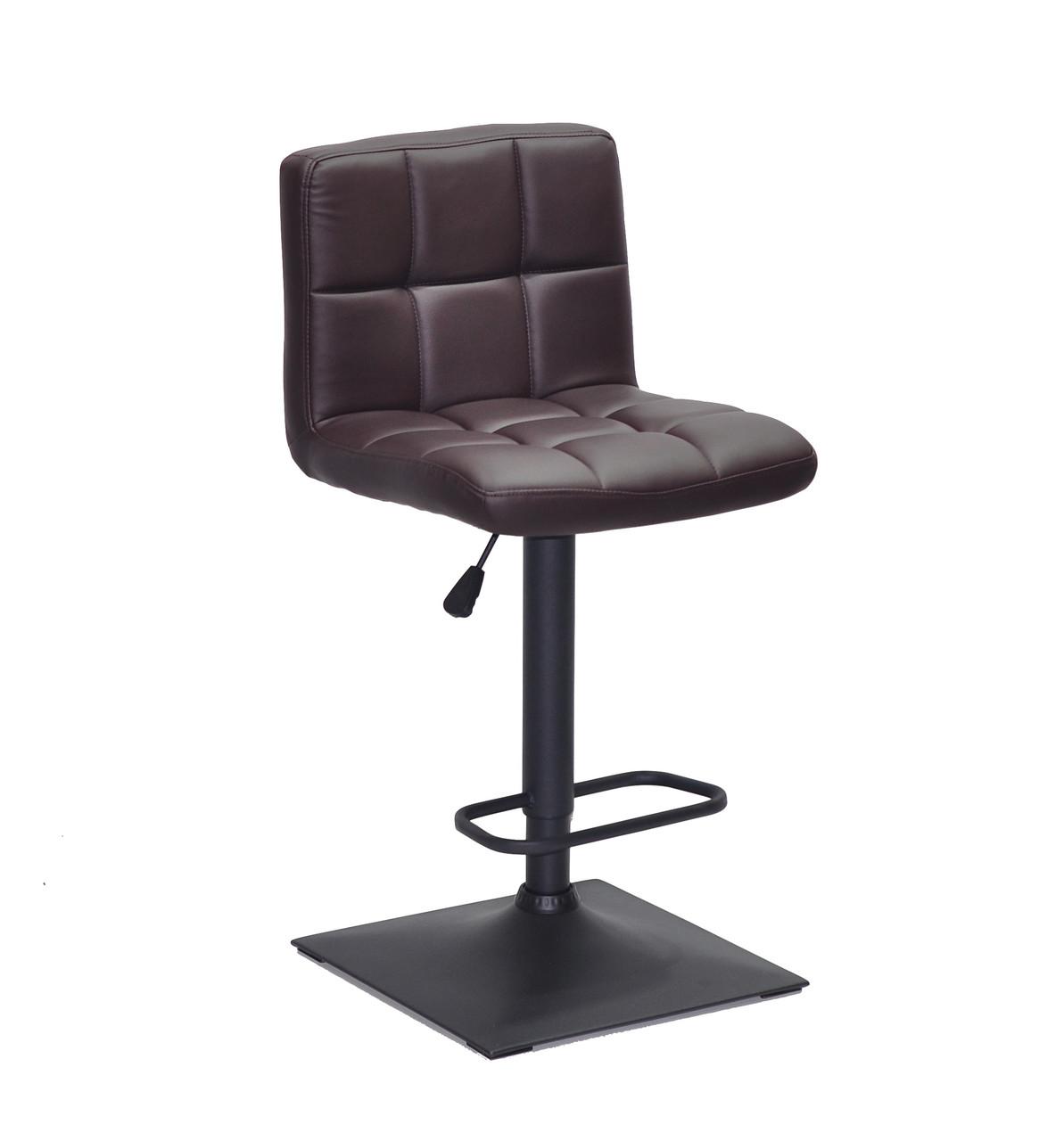 Коричневое кресло с подножкой на черном квадратном основании в эко-коже Arno BAR 4 BK - Base барный вариант