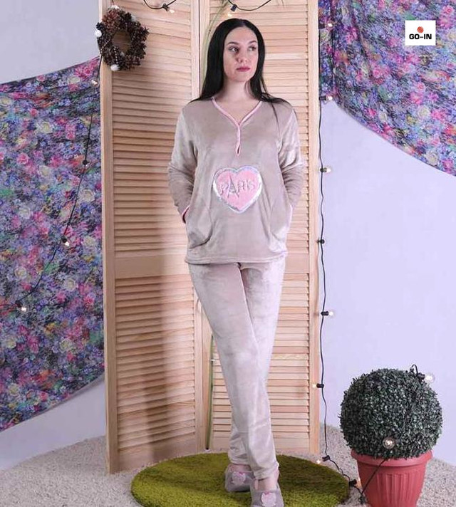 Пижама женская махровая теплая капучино 44-56р.