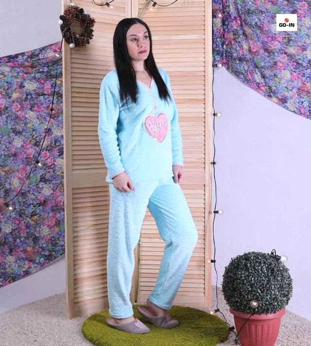 Піжама жіноча махрова тепла блакитний 44-56р.
