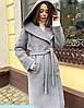 Брендове зимовий вовняне пальто з капюшоном, фото 2