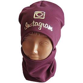 Детский трикотажный демисезонный комплект шапка + хомут (баф) на флисе, Instagram голограмма бордо
