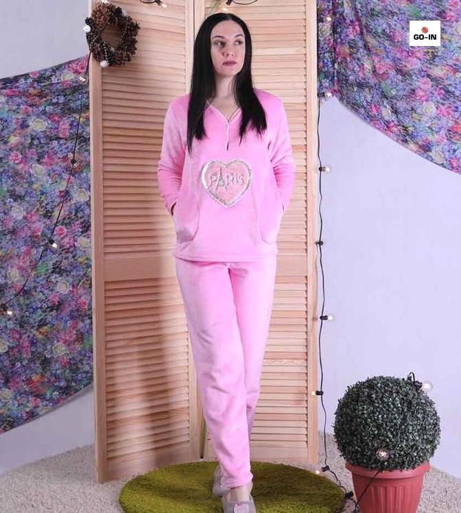 Красива жіноча махрова піжама тепла рожева 44-56р.