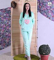 Жіноча махрова піжама тепла бірюзовий 44-56р., фото 1