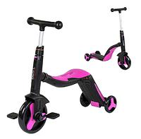 Велосипед детский 3в1 JT 20255 Best Scooter, самокат-велобег-велосипед, Розовый, свет, 8 мелодий, колёса PU