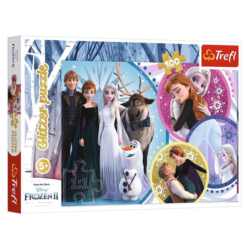 """Пазл глиттерный """"Холодное сердце-2. В свете любви"""", 100 элементов Trefl Disney Frozen 2 (5900511148176)"""