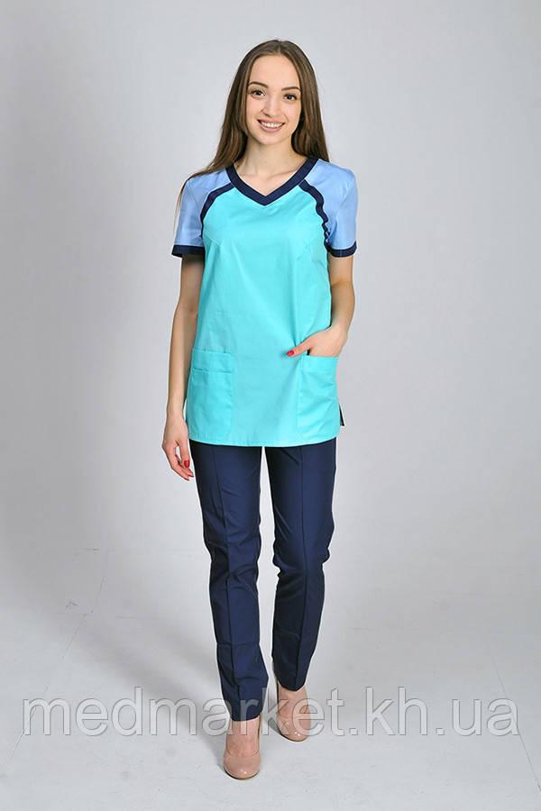 Костюм медицинский Колибри ELIT COTTON с зауженными брюками. Ментол/голубой/темно-синий