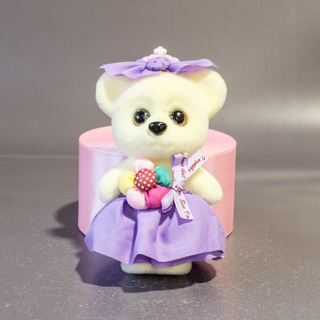 Игрушка для букетов Мишка в сиреневом