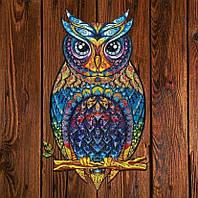 Уникальный деревянный фигурный пазл «Чарующая сова», Деревянная головоломка Сова (30*21 см) (LF-139-1)