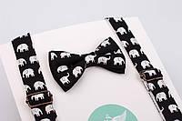 """Детский набор: галстук-бабочка + подтяжки """"Слоники"""".  , фото 1"""