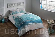Комплект постельного белья Tac сатин Glow Istanbul blue евро