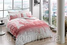Комплект постельного белья Tac сатин Glow Paris gul kurusu евро