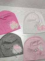 Трикотажная шапка для девочек с цветами Розмвр 46-50 см Возраст 1,5-4 года, фото 7