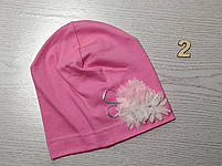 Трикотажная шапка для девочек с цветами Розмвр 46-50 см Возраст 1,5-4 года, фото 4