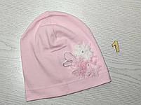 Трикотажная шапка для девочек с цветами Розмвр 46-50 см Возраст 1,5-4 года, фото 3