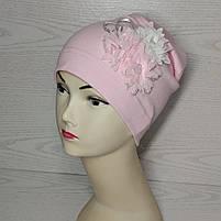 Трикотажная шапка для девочек с цветами Розмвр 46-50 см Возраст 1,5-4 года, фото 2