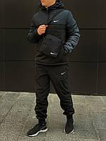 Куртка чоловіча утеплена найк, спортивний анорак з капюшоном, демісезонний комплект + Подарунок