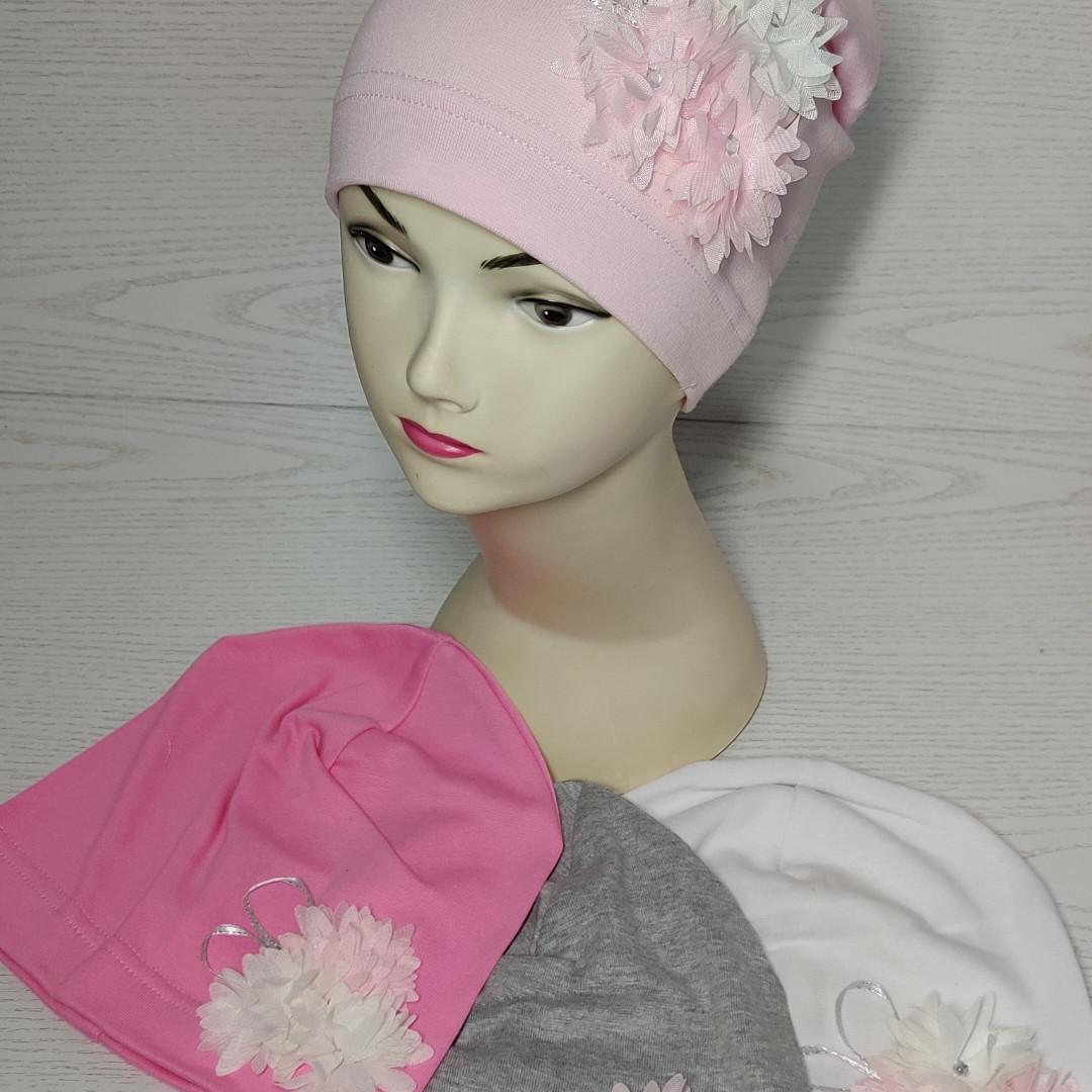 Трикотажная шапка для девочек с цветами Розмвр 46-50 см Возраст 1,5-4 года