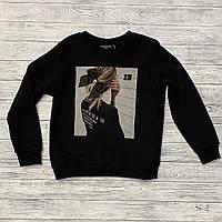 Женский модный чёрный свитшот с принтом