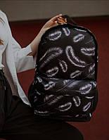 Рюкзак SG Empire для дівчини міський чорний з принтом пір'я ортопедичний універсальний