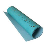 Шкірзамінник з фольгуванням - Golden Stars Turquoise - Fabrika Decoru - 25x50  (фіксований розмір!)