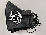 Многоразовые маски ПИТТА хлопковые (коттон кулир) трикотажные Украина принты с логотипом, фото 4