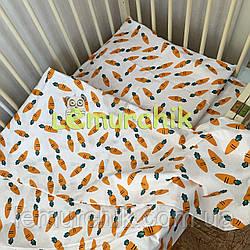 Постельный набор в детскую кроватку (3 предмета) Морковки