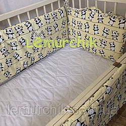 """Защита для детской кроватки 120х60 см, """"Панды"""" желтая"""