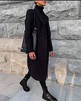 Женское теплое модное пальто цвет черный.