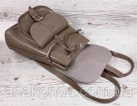 123 Натуральная кожа Городской кожаный женский рюкзак бежевый сумка-рюкзак из натуральной кожи бежевая, фото 2