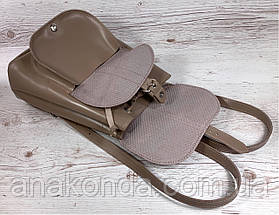 123 Натуральная кожа Городской кожаный женский рюкзак бежевый сумка-рюкзак из натуральной кожи бежевая, фото 3