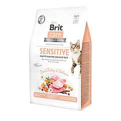 Сухой корм для привередливых кошек Brit Care Cat GF Sensitive HDigestion & Delicate Taste 2 кг индейка.лосось