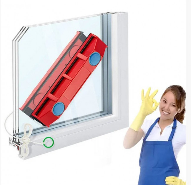 Двусторонняя магнитная щетка для мытья окон Magnet Glass Cleaner The Glider   магнитный скребок для стекол