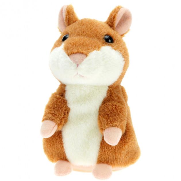 Интерактивная игрушка говорящий хомяк повторюшка Woody Brown | мягкая игрушка